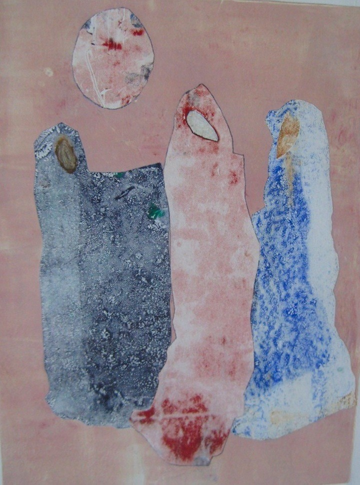 """""""Arab Women Bonding,"""" by Muriel Angelil; Monoprint, 2014; submitted photo."""