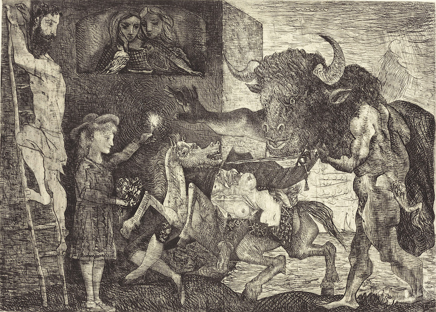 Minotauromachia, 1935 (printed 1936). Etching and engraving on paper; Estate of Pablo Picasso, image courtesy The Clark Art Institute.
