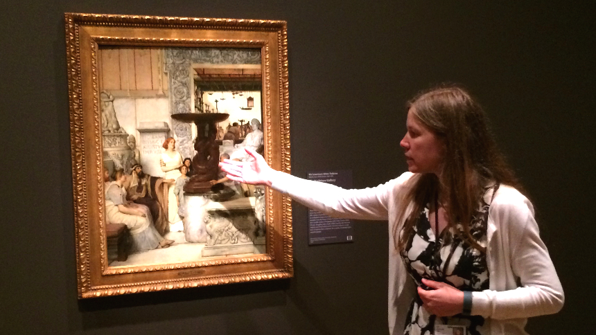 Alexis Goodin, co-curator of Orchestrating Elegance, explains the deep research that informed Tadema's historical understanding of his subject matter through a discussion of The Sculpture Gallery, 1875; photo by Jason Velázquez