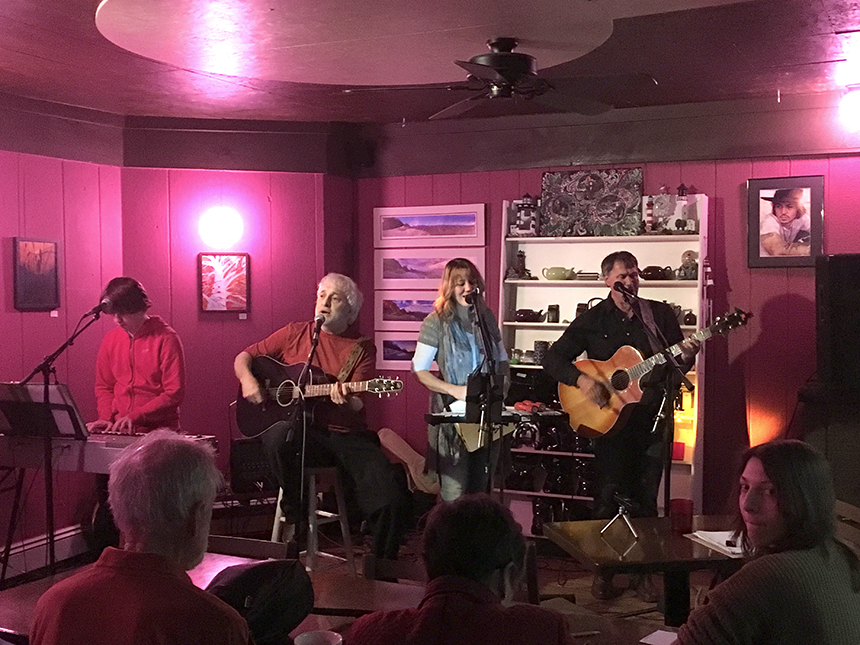 "Sandy McKnight's Pop Clique provided welcome acoustic tunage for the first storytelling event of the new ""Berkshire Yarn Mill,"" launched Wednesday night at SereniTea Café and Bar in North Adams."