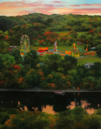 """""""Fairgrounds on the River,"""" by Scott Prior—part of The River Art Project Exhibition, on view from June 8 to September 2."""