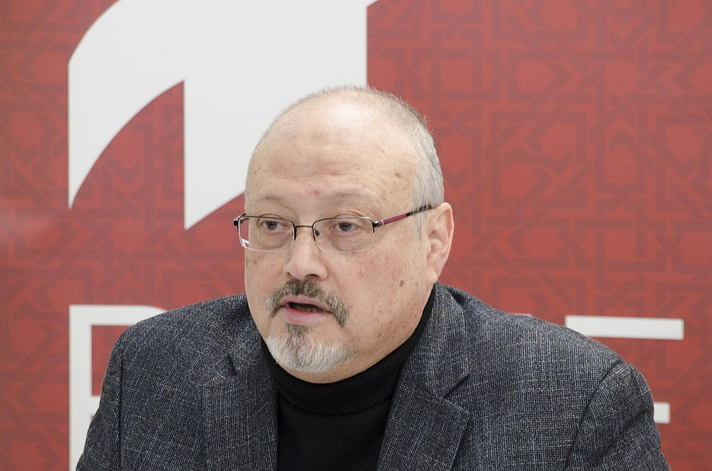 Journalist Jamal Khashoggi in March, 2018; photo courtesy Project on Middle East Democracy; [CC BY 2.0 (https://creativecommons.org/licenses/by/2.0)], via Wikimedia Commons
