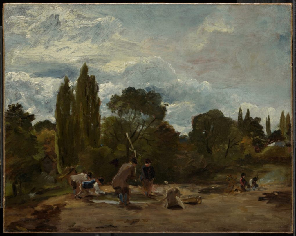 """""""Flailing Turnip-Heads, East Bergholt,"""" John Constable, English, 1776-1837 c. 1812–15 Oil on canvas Gift of the Manton Art Foundation, in memory of Sir Edwin and Lady Manton, 2007"""