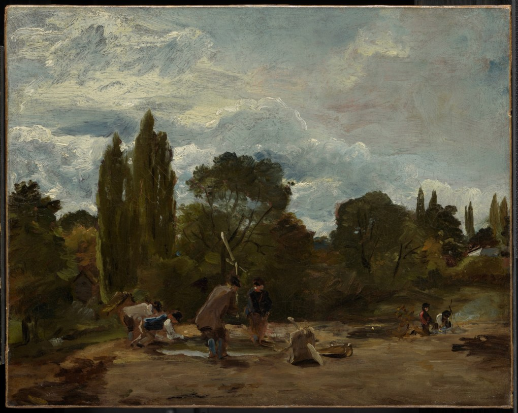"""Flailing Turnip-Heads, East Bergholt,"" John Constable, English, 1776-1837 c. 1812–15 Oil on canvas Gift of the Manton Art Foundation, in memory of Sir Edwin and Lady Manton, 2007"