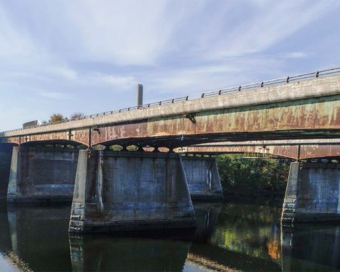 Massachusetts ranked 8th in a recent survey of the worst infrastructure in the U.S. by 247 Wall Street; photo, Interstate 495 over Merrimack River, Haverhill, courtesy Massachusetts Department of Transportation.