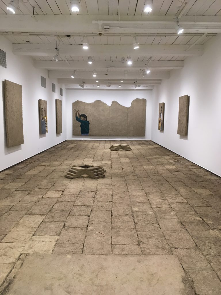 Installation of staring at the sun, by Rafa Esparza, curated by Marco Antonio Flores.