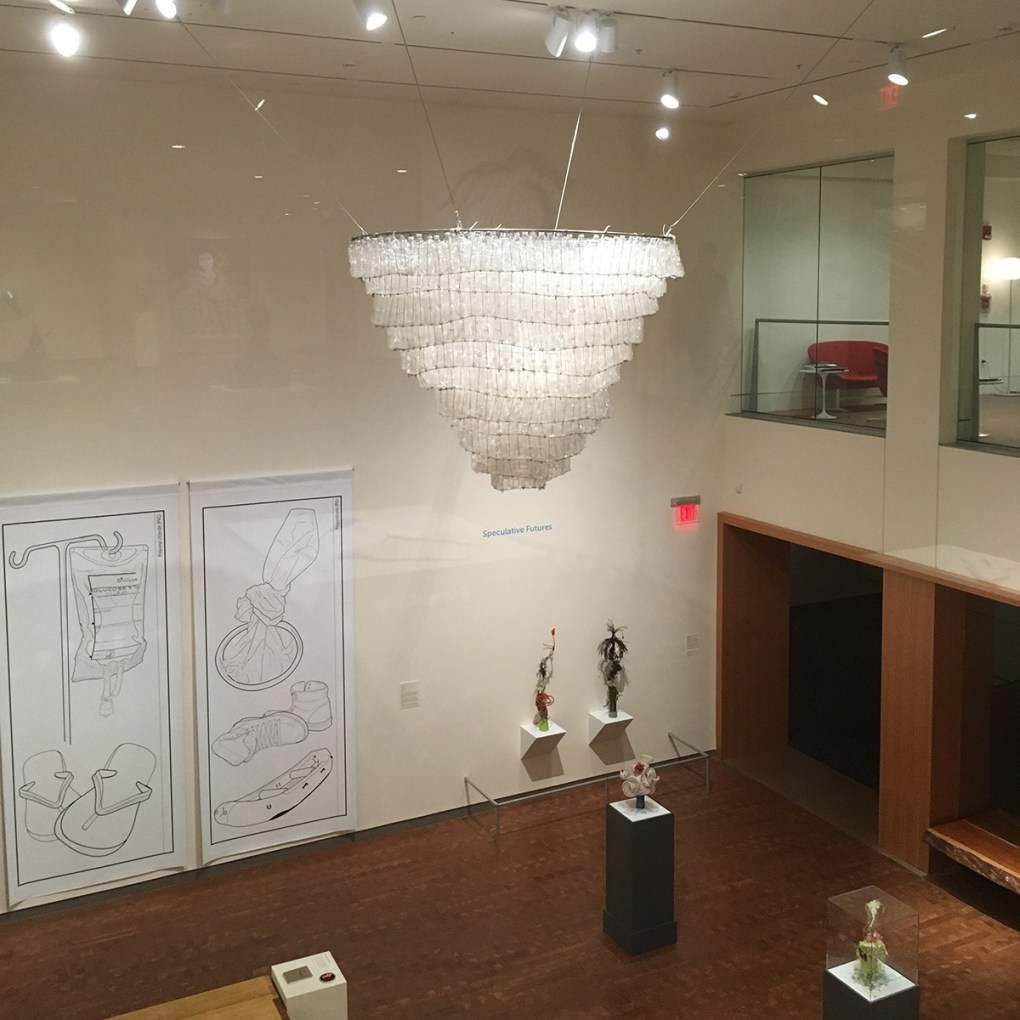 Installation Photo, Willie Cole, Chandelier, 2015/2017 Plastic bottles and metal armature; [Source: Willie Cole].