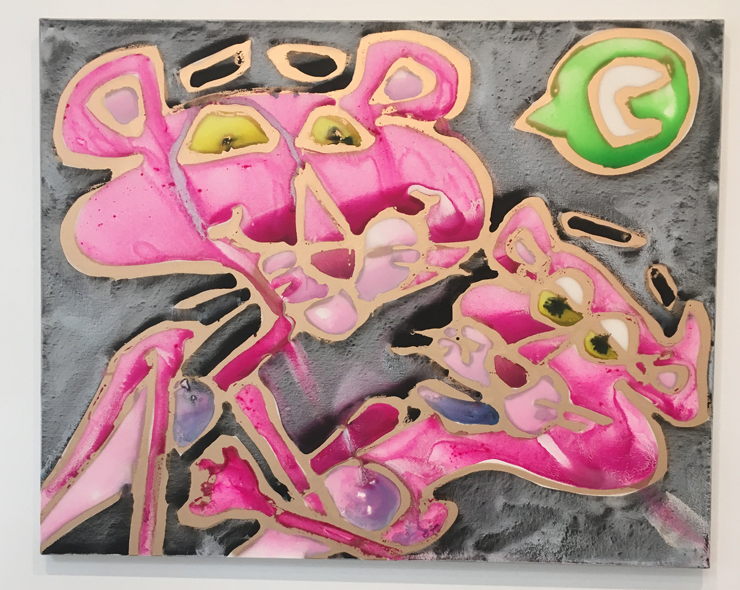 Katherine Bernhardt, Love Online, Acrylic and spray paint on canvas; photo by Sara Farrell Okamura.