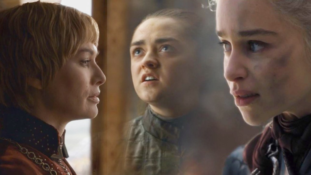 "Composite image of familiar ""Game of Thrones"" faces Lena Headey as Cersei Lannister, Maisie Williams as Arya Stark, and Emilia Clarke as Daenerys Targaryen; HBO."