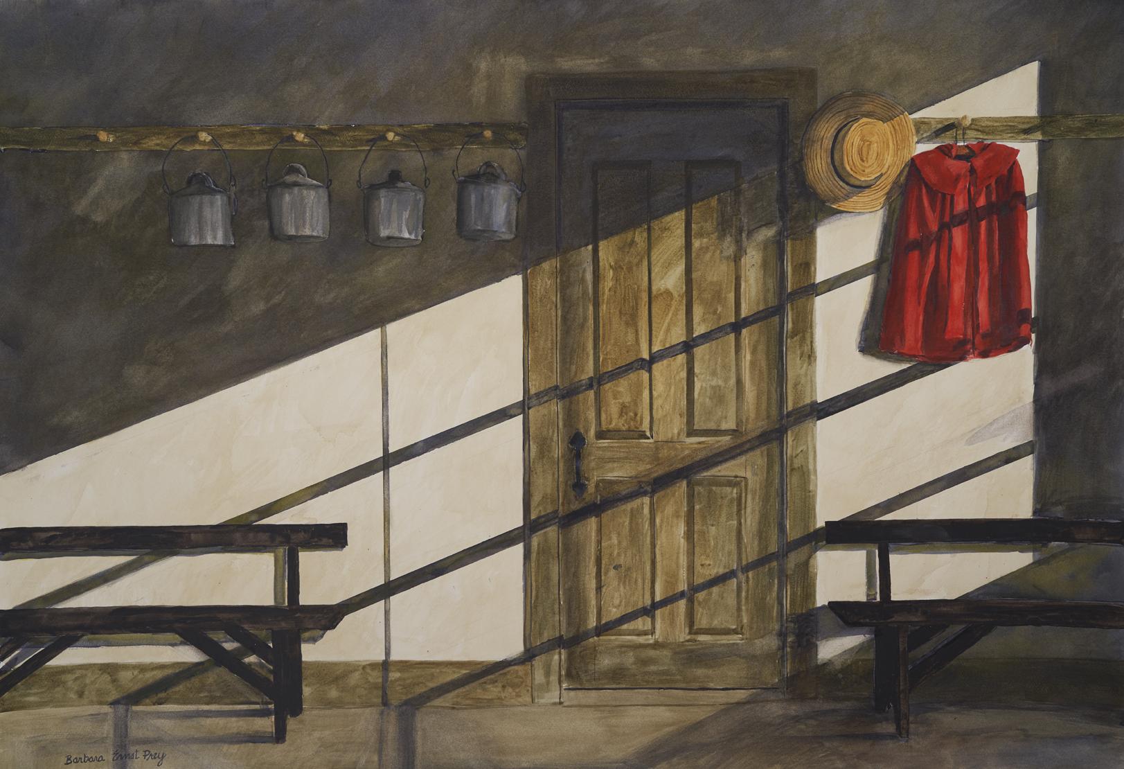 Barbara Ernst Prey, School Room, 2019, watercolor on paper; [source Hancock Shaker Village].
