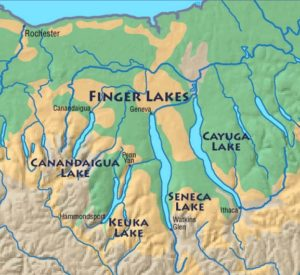 This map illustrates the location of the Finger Lakes region of Upstate New York.