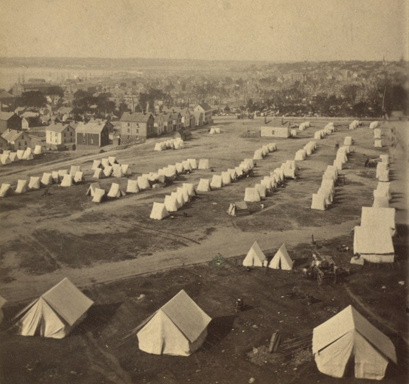 Photograph: Panoramic view of the 'burnt district' looking southwest from the Observatory; photographed by J.P. Soule between July 12–14, 1866, photo courtesy of the Robert N. Dennis Collection, New York Public Library.