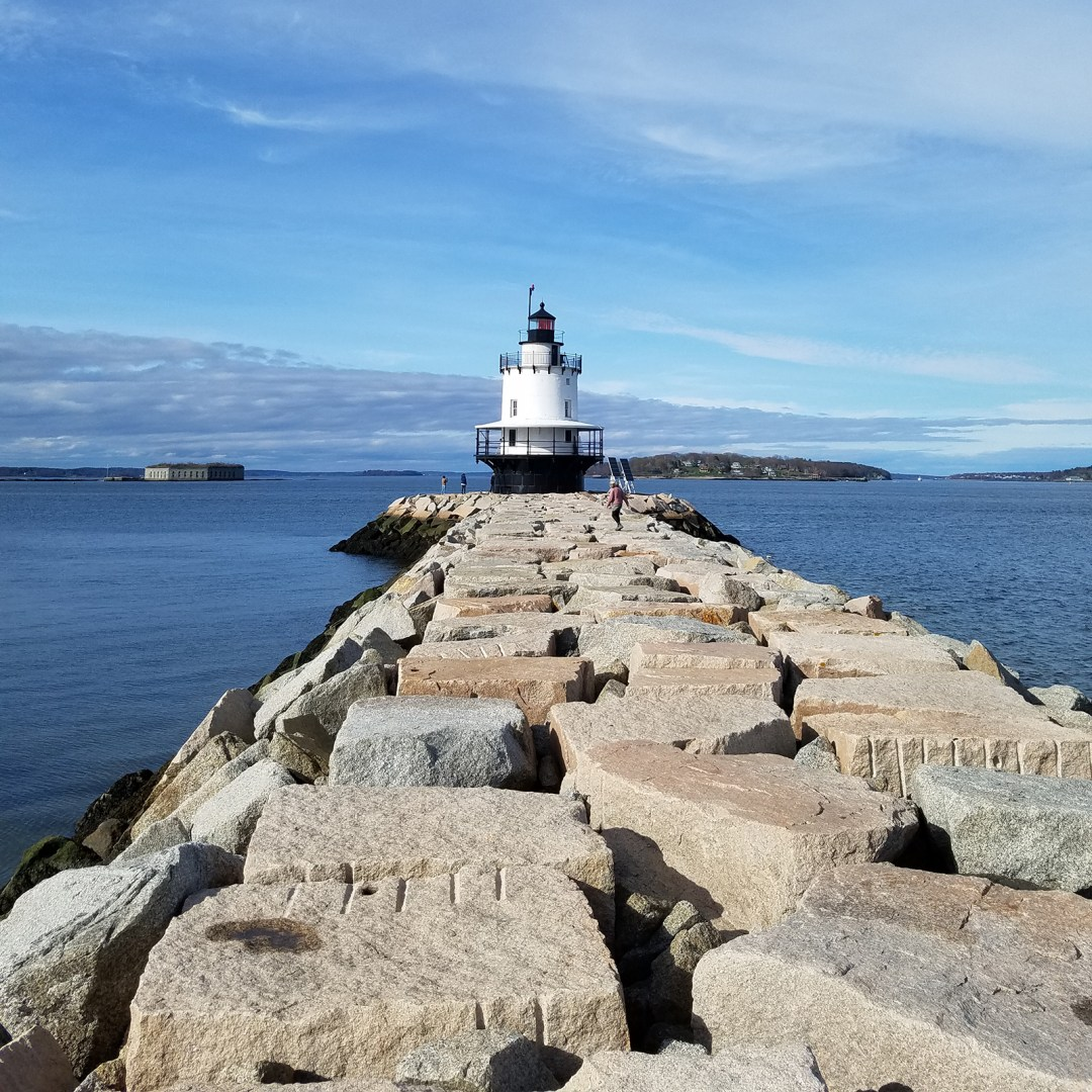 Photograph: Portland Breakwater Light, sometimes referred to a Bug Light Park Lighthouse, punctuates the eastern end of the Greenbelt Walkway; photo by Robin Catalano.
