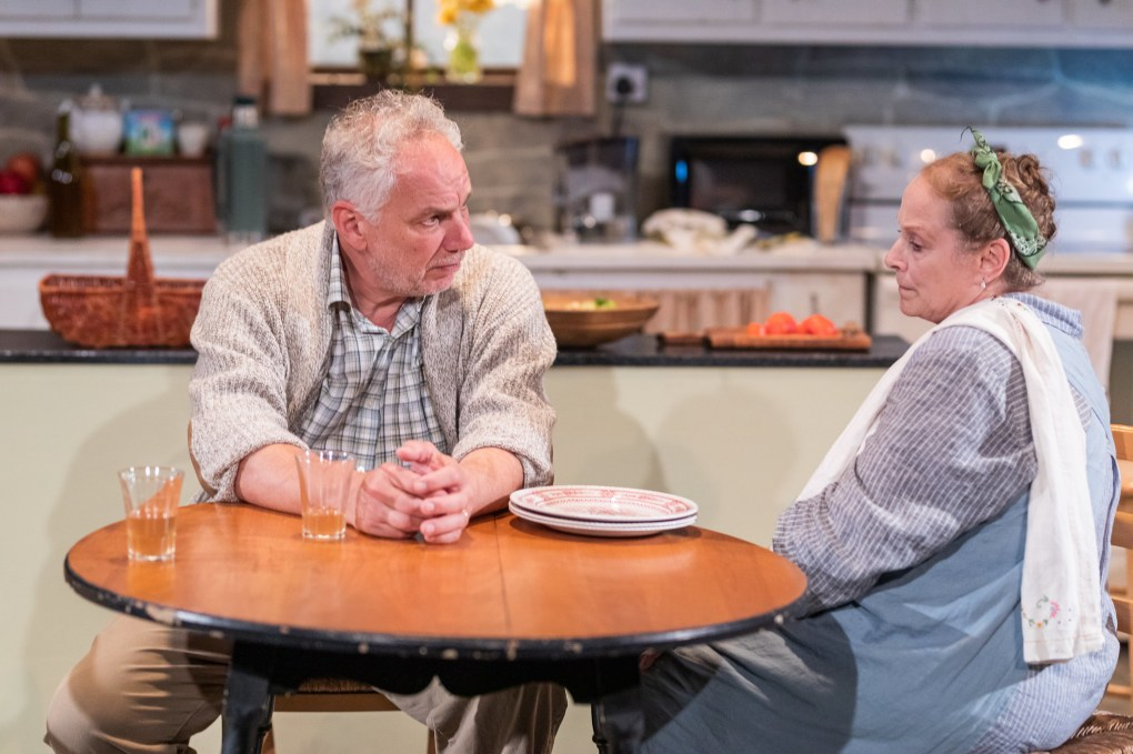 Jonathan Epstein and Diane Prusha play married nuclear scientists who ride out retirement after a power plant disaster about questions of responsibility abound; photo by Nile Scott Studios.