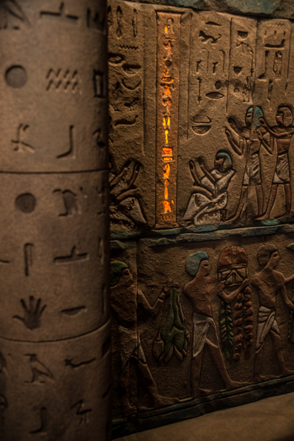 Photo showing detailed hieroglyphics on a column inside the Tomb adventure game: The combination of intricate detail and subtle special effects create more than enough of a illusion to transport even the most rigorous skeptics of the supernatural into the plot of a lost Indiana Jones movie; photo courtesy 5 Wits.