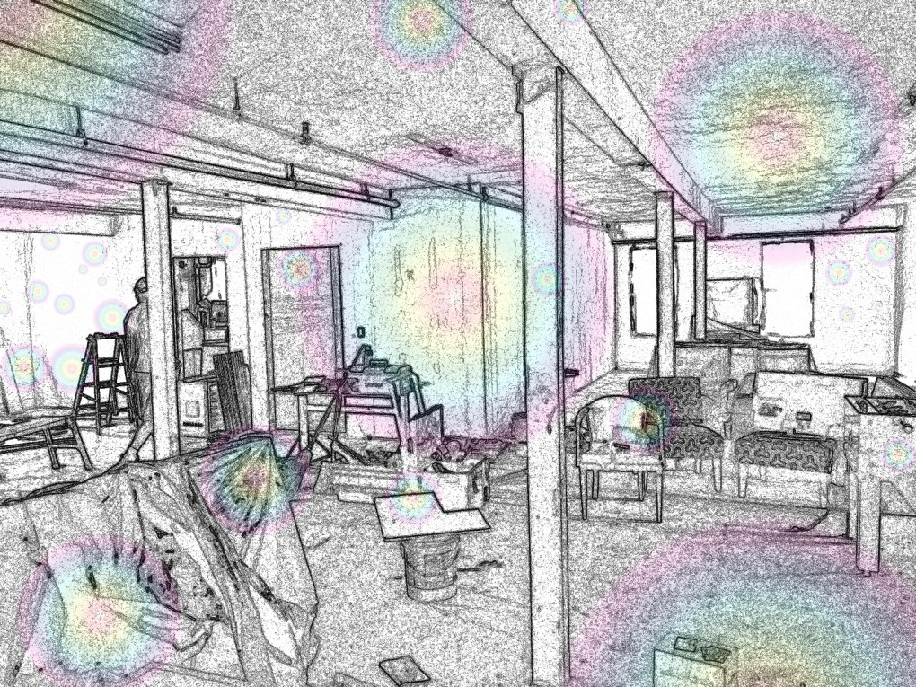 The performers apartment / Green Room above the HiLo venue, which will provide welcome relief to touring artists; photo and effects by Jason Velázquez.