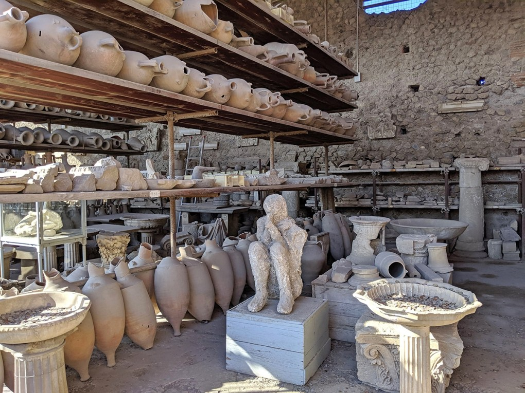 The Foro, or Forum, at Pompeii was the central place of business and commerce. The Forum Granary once hosted a variety of food and vegetable vendors. It now houses more than 9,000 of the site's most important artifacts, including copies of plaster casts of some of the victims.