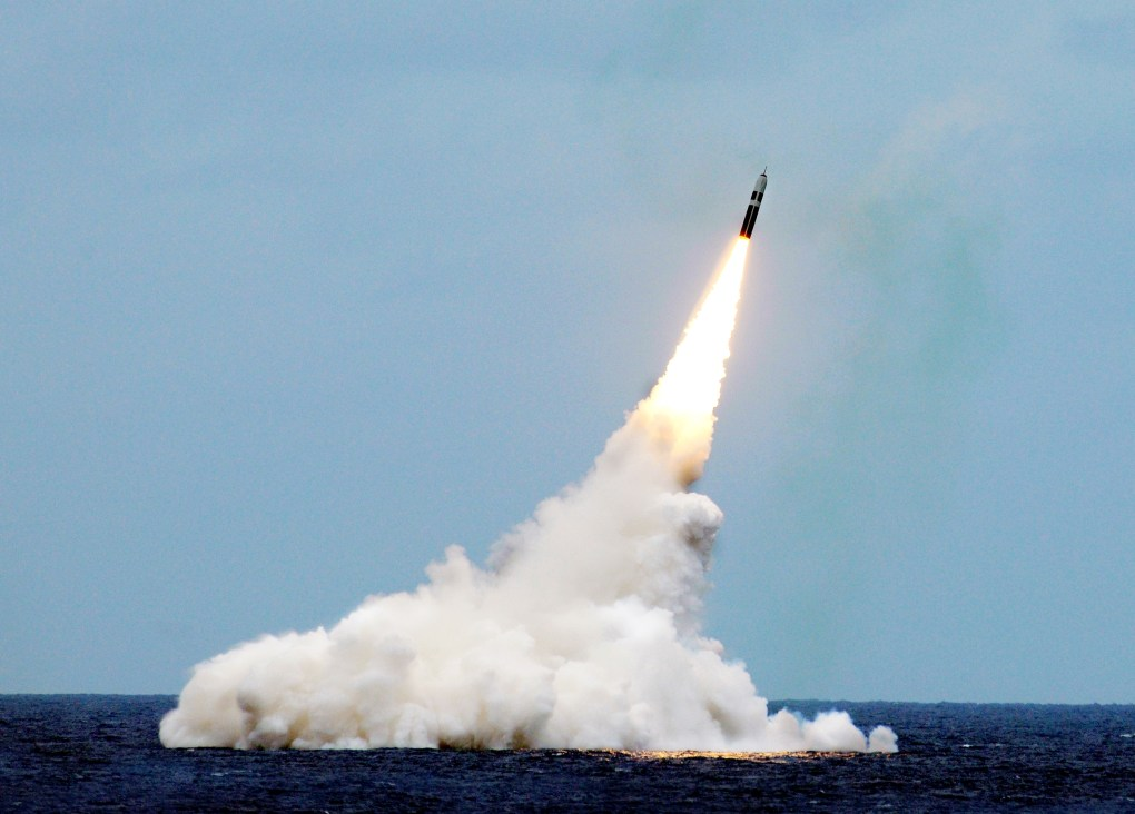 An unarmed Trident II D5 missile is launched from the Ohio-class ballistic-missile submarine USS Maryland (SSBN 738) during a missile test off the coast of Fla., August. 31, 2016; public domain photo by photo by John Kowalski, courtesy U.S. Navy.