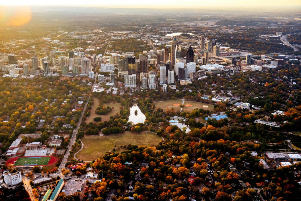 Aerial view of mid-town Atlanta in Autumn; photo by Gene Phillips, Courtesy of ACVB & AtlantaPhotos.com.