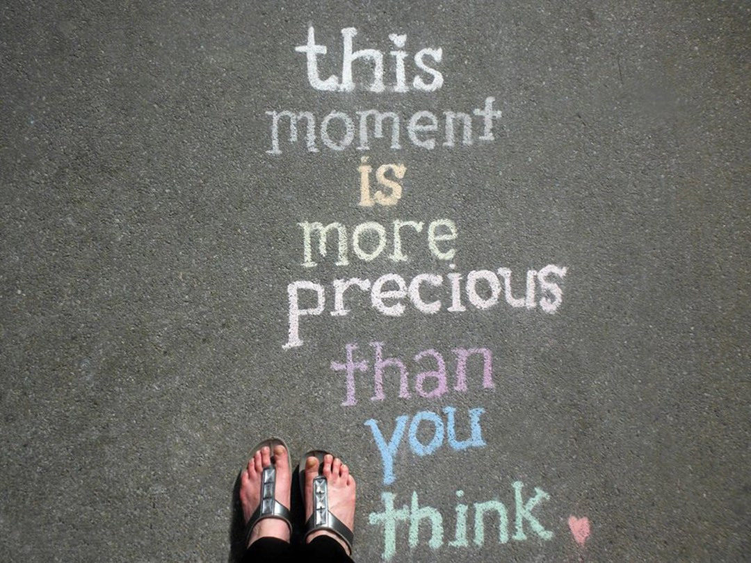 Messages of inspiration, left in chalk on sidewalks, may provide passersby doses of hope at random times and in unexpected places in New York City; photo by Jane Feldman.