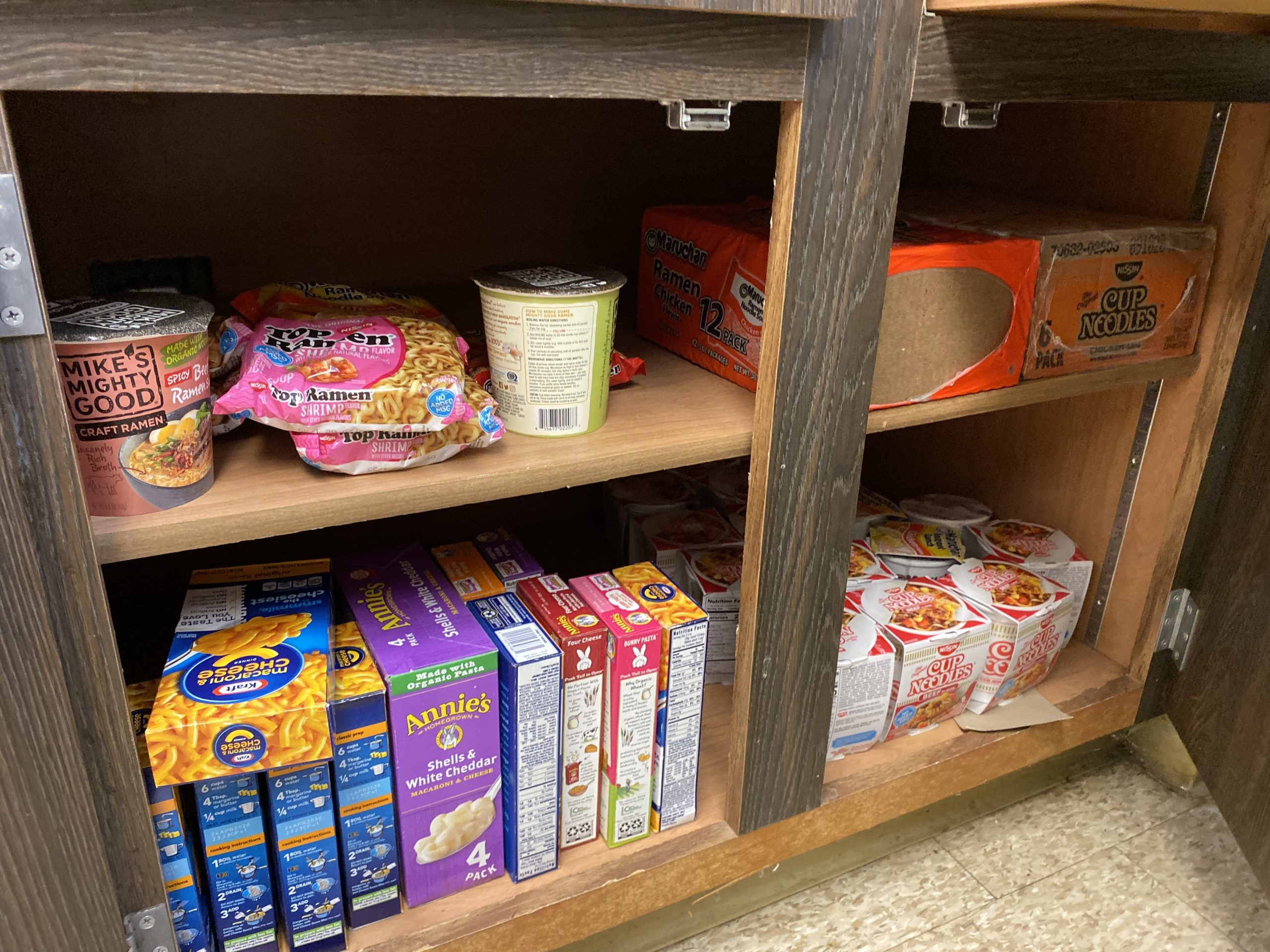 The student-run food pantry at MCLA is a critical campus survival resource for many students; submitted photo.
