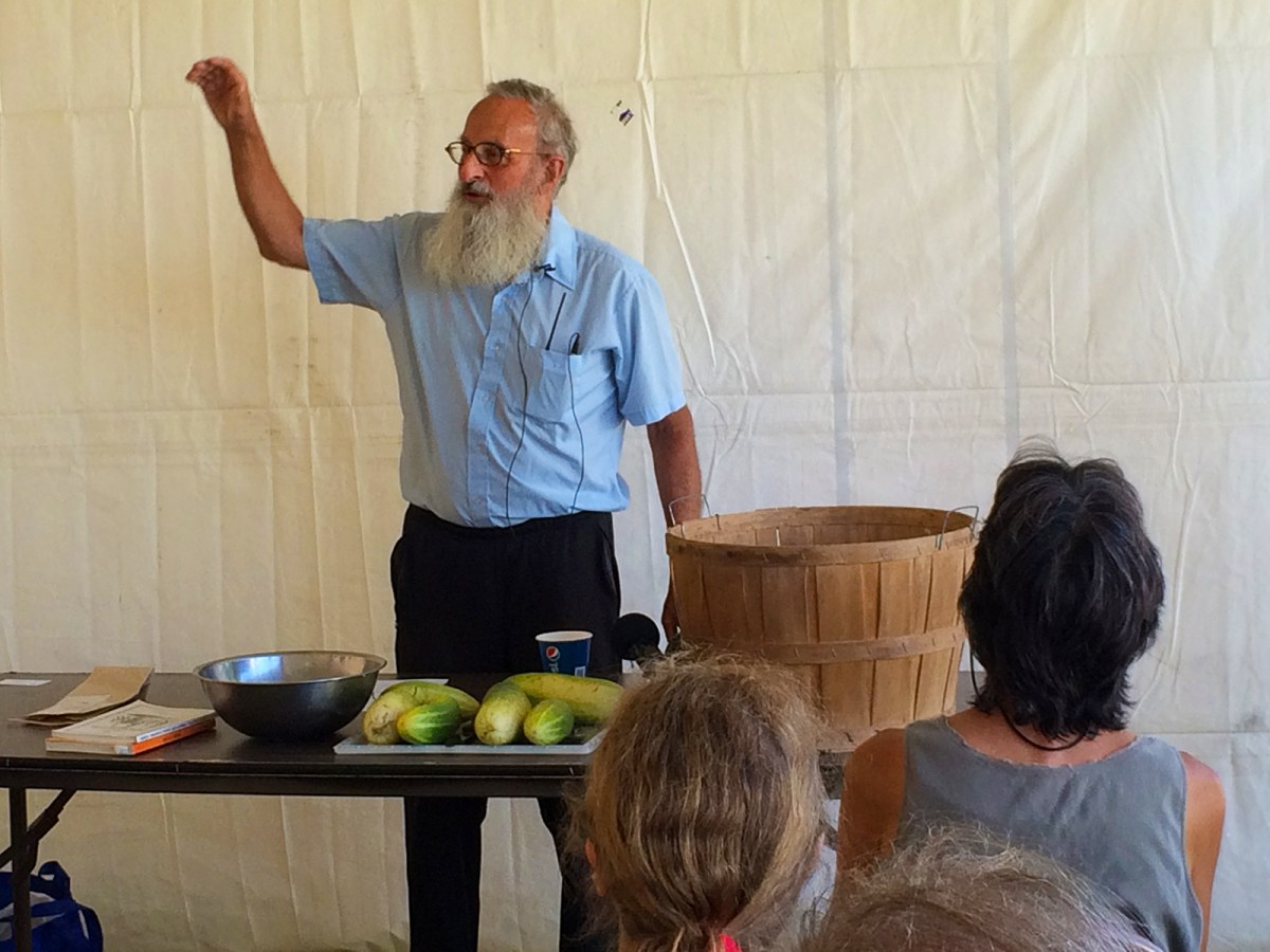 Fedco Seeds founder Cr Lawn gives a presentation on food preservation and seed saving at the 2016 Heath Fair; photo by Jason Velazquez.