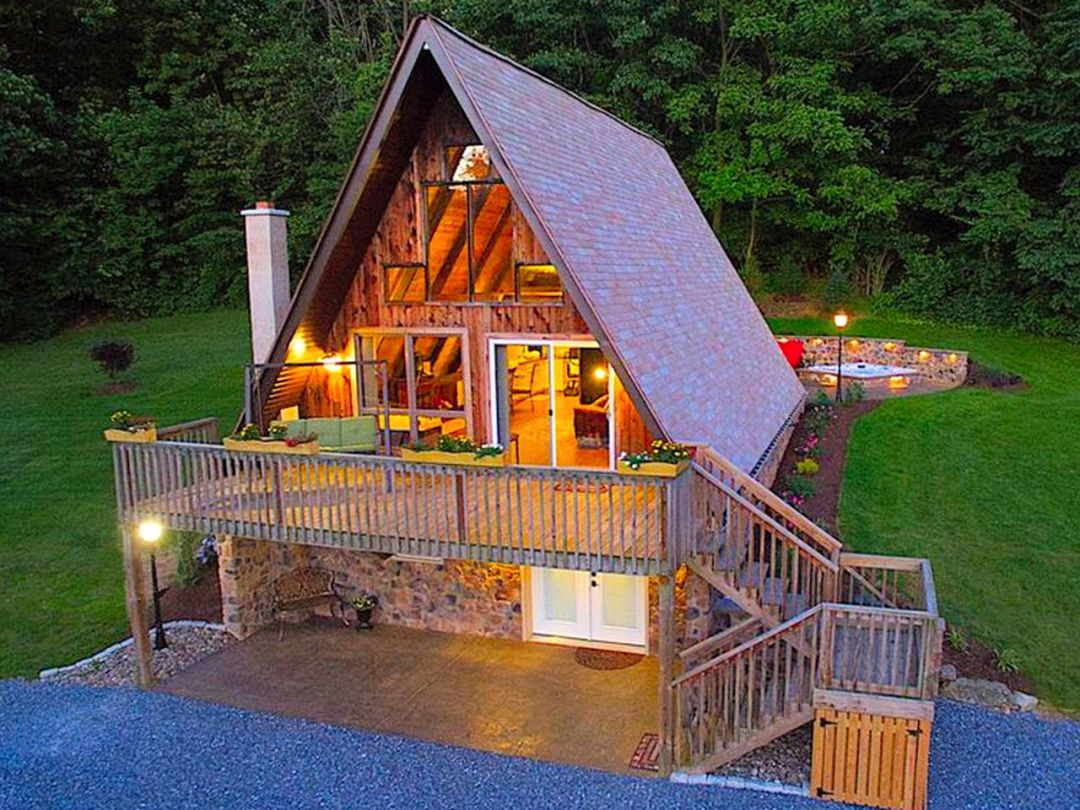 Fantastic A-Frame Cabin for a Couples' Getaway near Robesonia, Pennsylvania; submitted image.