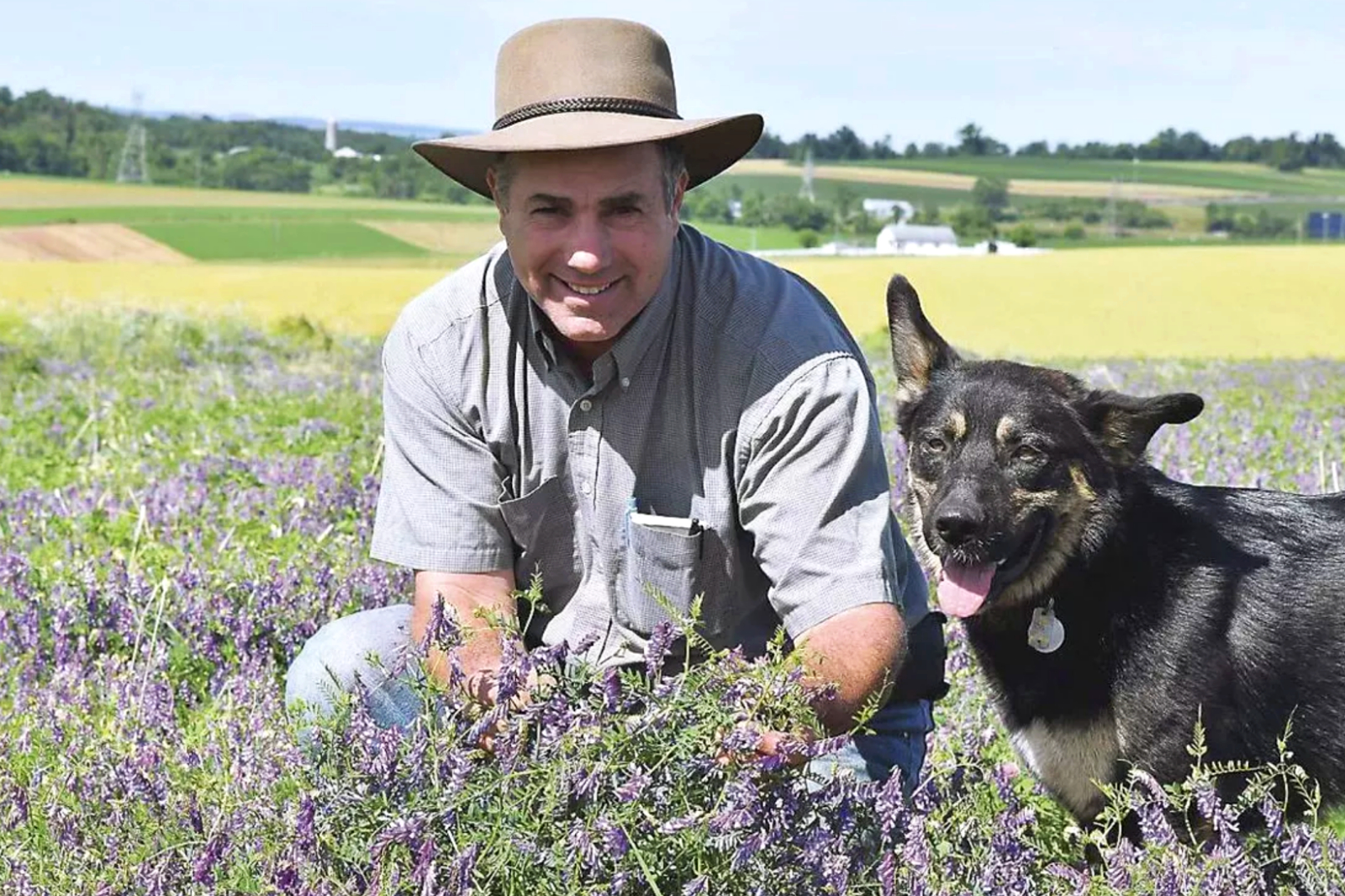 photo of Steve Groff sitting in a field of alfalfa with dog.