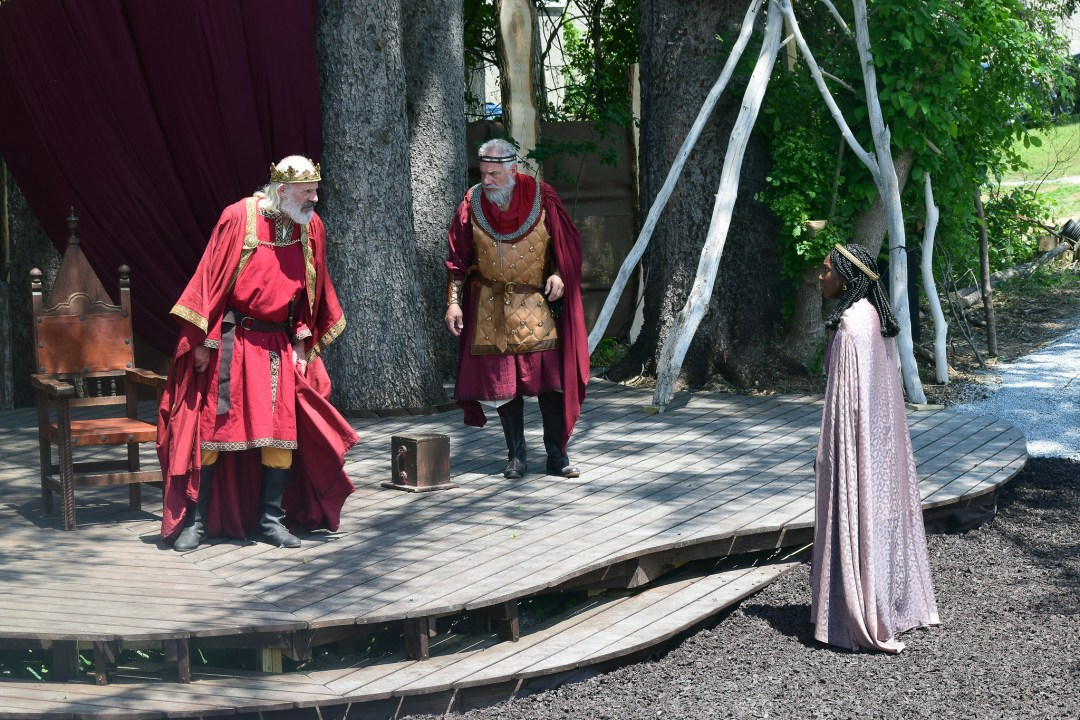 Christopher Lloyd, Jonathan Epstein, and Jasmine Cheri Rush in Shakespeare & Company's 2021 production of King Lear; photo by Katie McKellick.