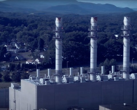 Photo of The Pittsfield Generating Plant at 235 Merrill Road, Pittsfield. Mass, owned by Hull Street Energy; still image from the short documentary, The Peaker Plant Problem, by Ben Hillman, via YouTube.