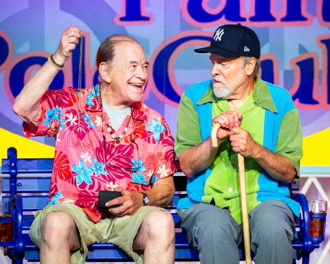 Kenneth Tigar and Robert Zukerman in Boca, by Jessica Provenz, directed by Julianne Boyd, playing Outdoors at the BSC Production Center now through August 29; photo by Daniel Rader.