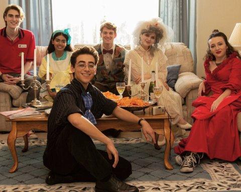 (left to right) The cast of Dramarama, Zak Henri (JD); Megan Suri (Claire); Nick Pugliese (Gene); Nico Greetham (Oscar); Anna Grace Barlow (Rose); Danielle Kay (Ally)