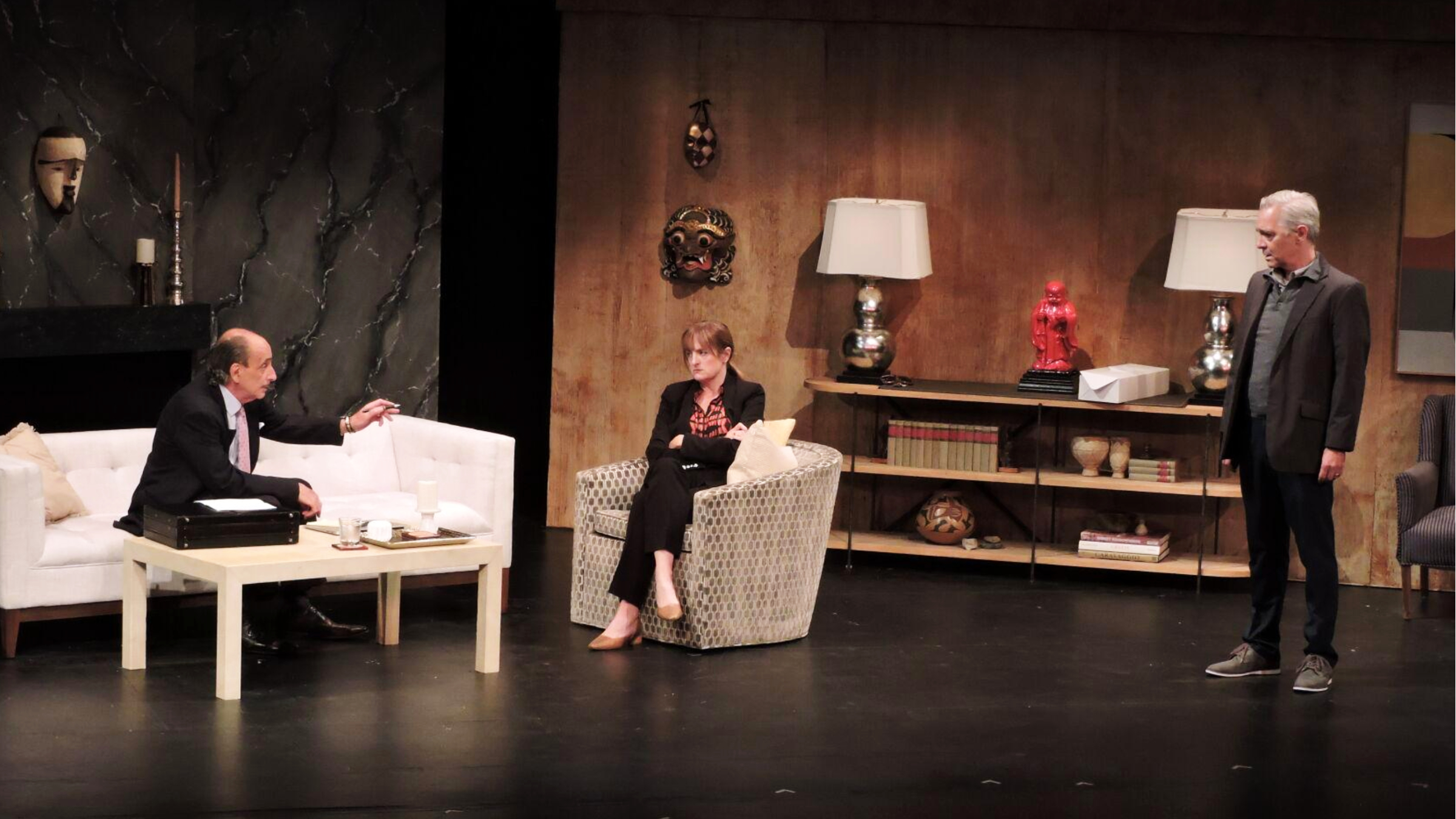"""(From left) William LeBow, as Mr. Stone, Keira Naughton, as Joan, and David Adkins, as Alan, in """"The Christopher Boy's Communion."""" photo courtesy Great Barrington Public Theater"""