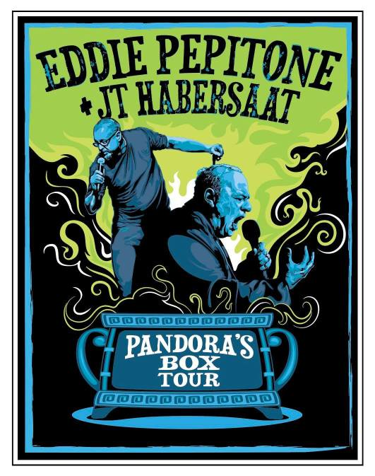 "poster for the comedian Eddie Pepitone's 2021 tour, ""Pandora's Box."""