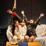 Photo of (left to right) Actors Sarah B. Denison, Jasmine Rochelle Goodspeed, and Ria Nez in WAM Theatre's production of KAMLOOPA; photo by David Dashiell.