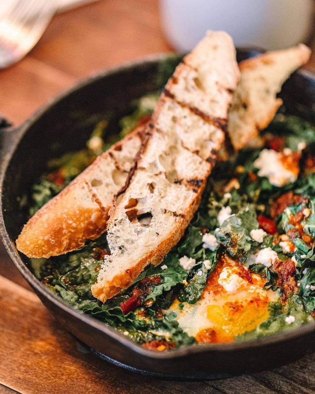 Hard to argue with skillet of Shakshouka — poached eggs with vegetable in a tomato-based sauce — from the Bartlett House's kitchen; photo by Meg Pearce.