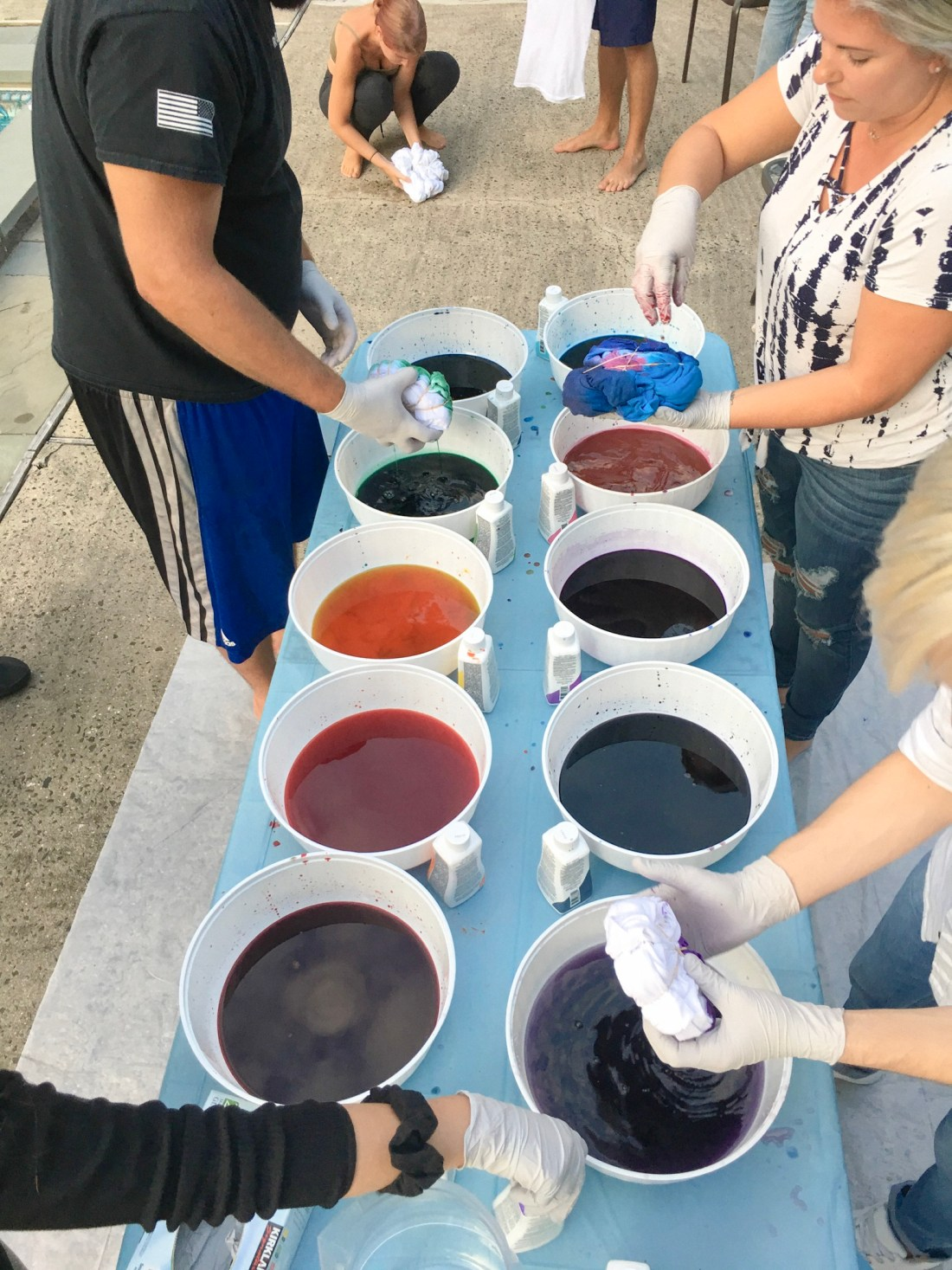 Set up your tie dye station outside, it gets messy!