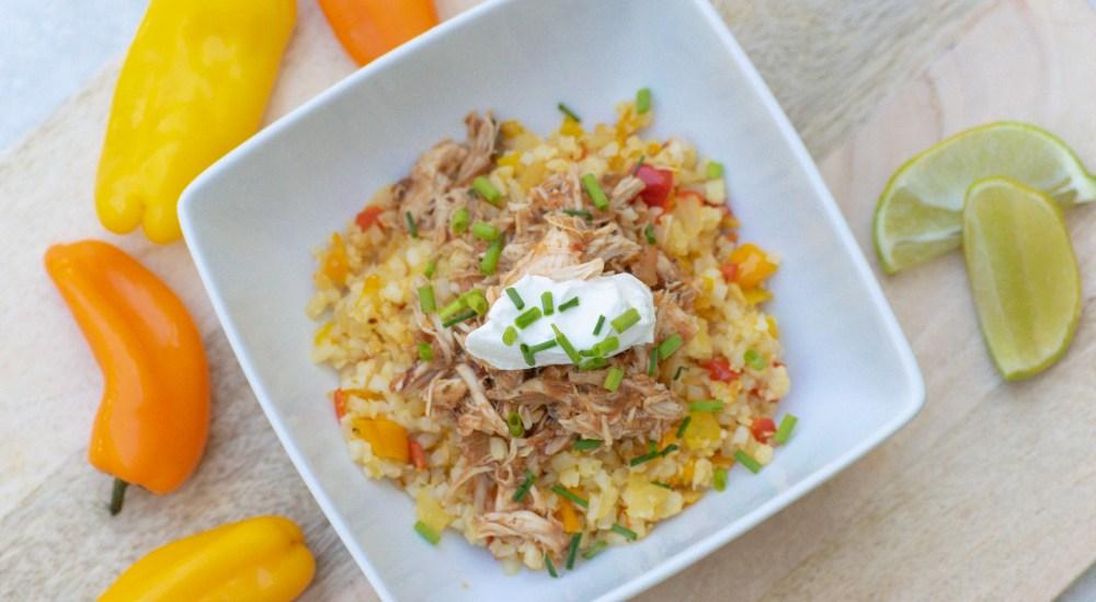 Shredded Chicken & Cauliflower Rice Bowl