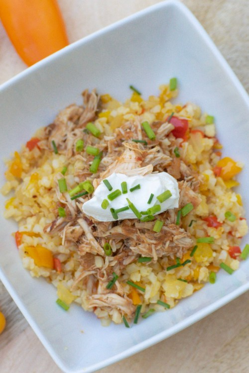 Shredded Chicken & Cauliflower Rice Bowl