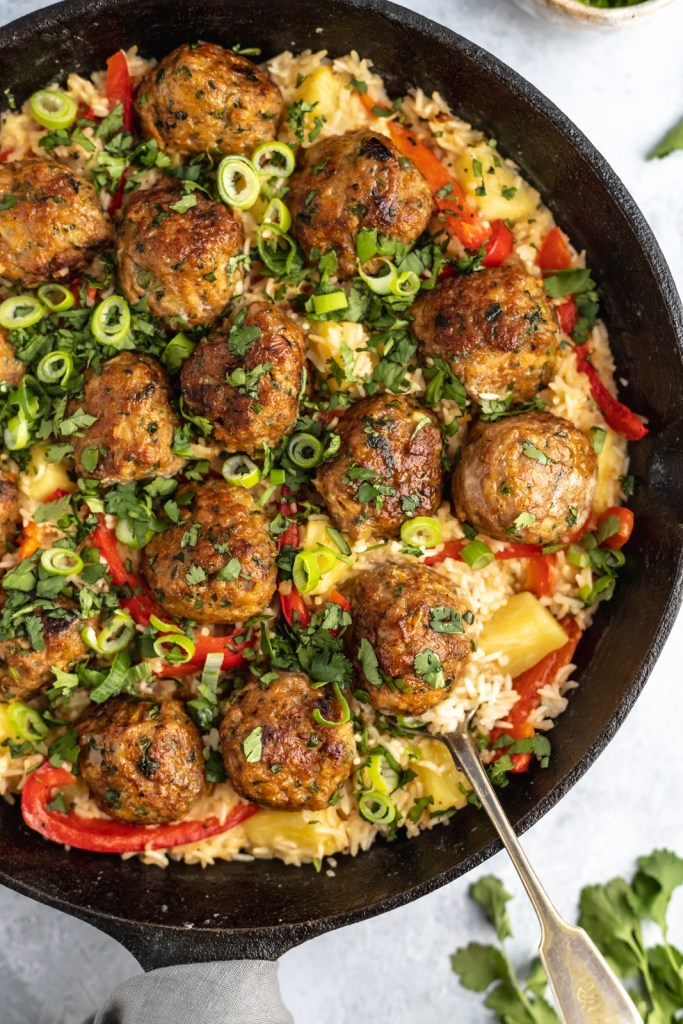 Chicken Meatballs with Coconut Rice