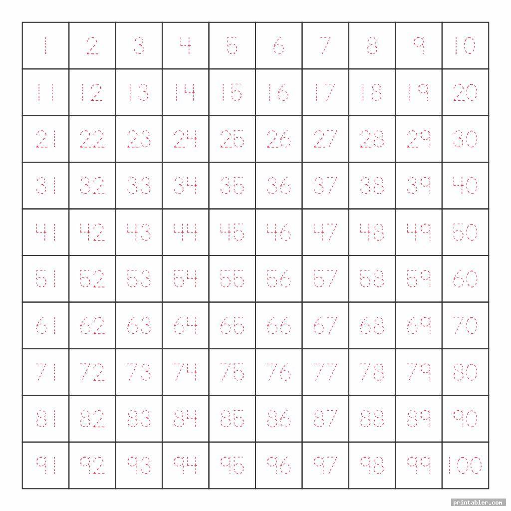 1 100 Chart Printable