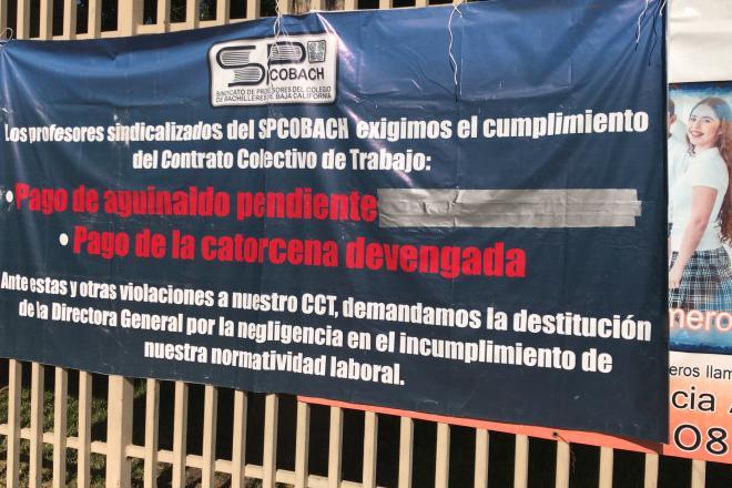 Para Cobach por retraso en pago de sueldos; sin clases 39 mil estudiantes (Baja California)