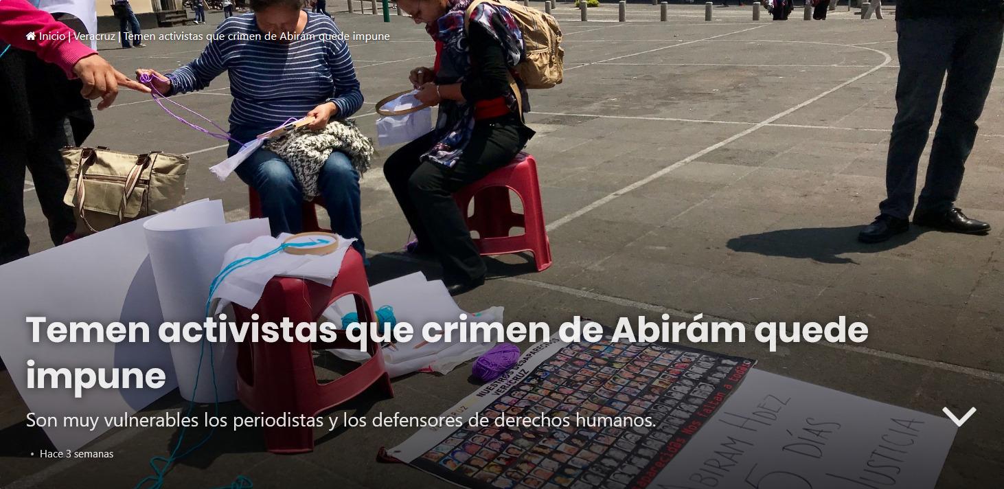 Temen activistas que crimen de Abirám quede impune (Veracruz)