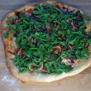 Fig, Prosciutto & Manchego Pizza with Baby Arugula