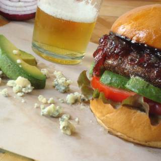 Red, Black and Blue Burger