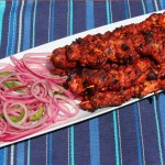 Adobo Chicken Skewers with Lime & Jalapeño Pickled Onions