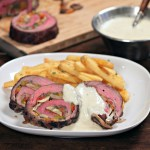 Philly Stuffed Flank Steak with Provolone Cheese Sauce