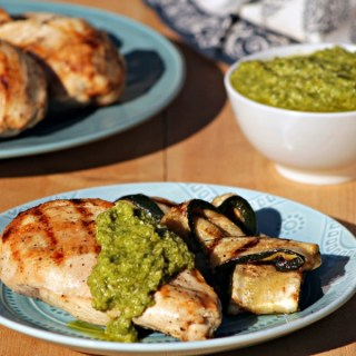 Grilled Chicken with Lemony Artichoke Pesto