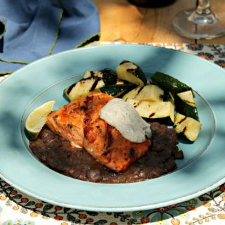 Adobo-Lime Glazed Salmon with Chipotle Black Beans