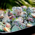 Sour Cream Red Potato Salad with Bacon and Scallions